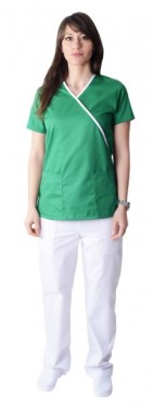 Bluza medicala Y verde cu insertii albe