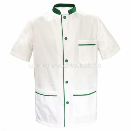 Halat tunica alb / verde