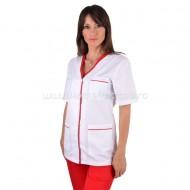 Bluza dama alba cu insertii rosii
