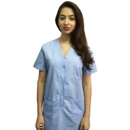 Sarafan medical bleu cu capse