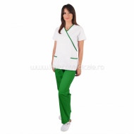 "Costum ""Y"" alb / verde"