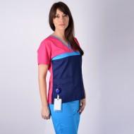 Bluza medicala ColorMIX ciclam / bleumarin