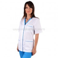 Bluza dama alba cu insertii turcoaz