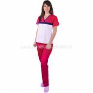 Costum ColorMIX alb/ciclam din bumbac satinat elastic