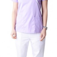 Bluza medicala Y lila cu insertii albe