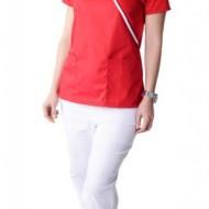 Bluza medicala Y rosie cu insertii albe