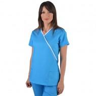 Bluza medicala Y turcoaz cu insertii albe