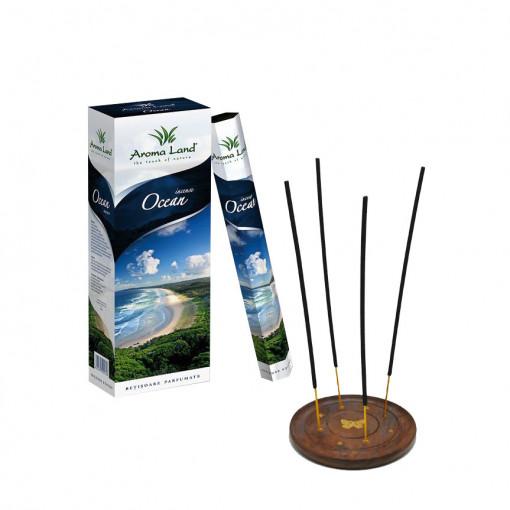 Pachet 120 betisoare parfumate Ocean + suport lemn, Aroma Land