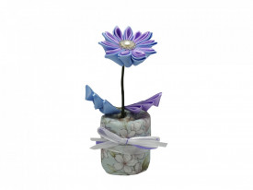 Floare textila albastra cu carbune activ bambus, Aroma Land, Odorizare & Decor