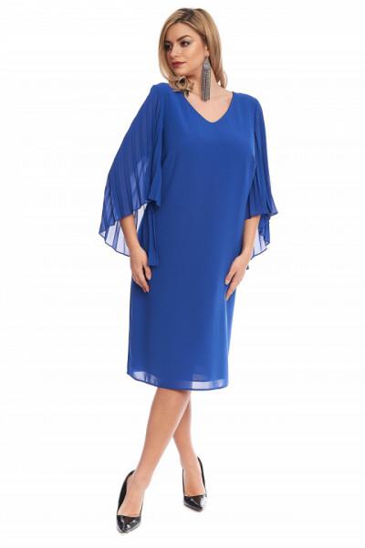 Rochie eleganta albastra din voal cu maneci plisate in forma de fluture