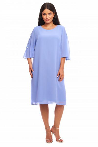 Rochie eleganta din voal bleu inchis cu perle aplicate pe maneca