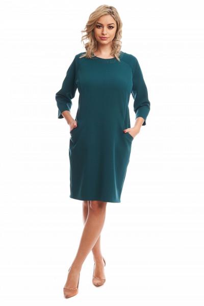 Rochie de zi midi verde cu buzunare