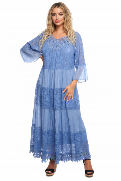 Rochie lunga albastru-deschis din vascoza naturala si dantela brodata
