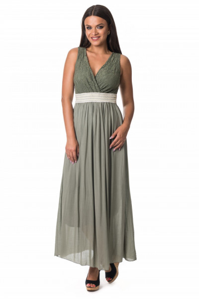 Rochie lunga vascoza si dantela verde oliv