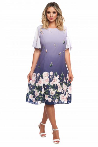 Rochie lila din voal cu print floral