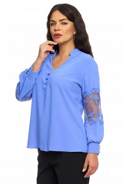 Bluza eleganta albastru-marin cu nasturi si dantela pe maneca