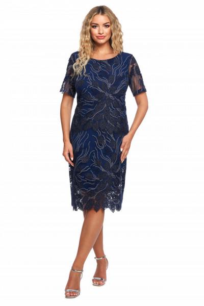 Rochie eleganta bleumarin din tull brodat