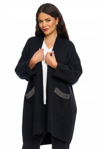 Cardigan din material textil cu pietricele aplicate pe buzunare