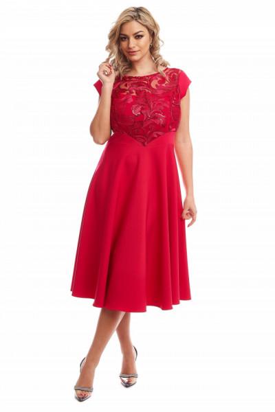 Rochie eleganta din tafta si dantela rosie