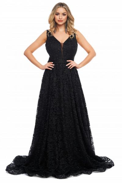 Rochie lunga neagra din dantela cu fir lame