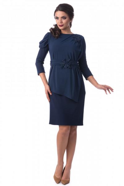 Rochie eleganta albastra cu broderie
