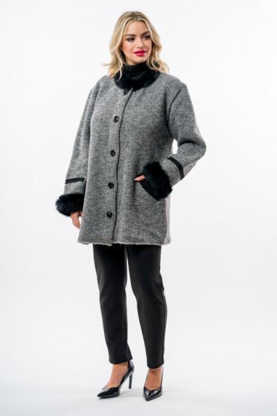 Jacheta tricotata cu blanita naturala si nasturi