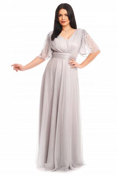 Rochie lunga gri-argintiu din lame cu perlute pe maneca