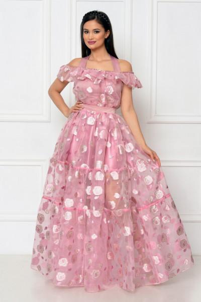Rochie lunga organza roz cu umerii goi