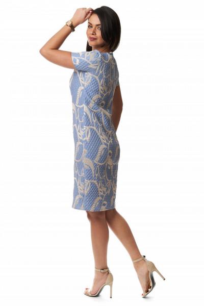Rochie eleganta albastra din brocard