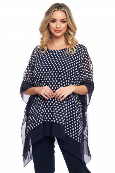 Bluza bleumarin cu buline gri