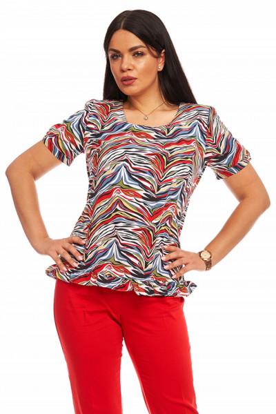 Bluza multicolor din vascoza imprimata cu volanas
