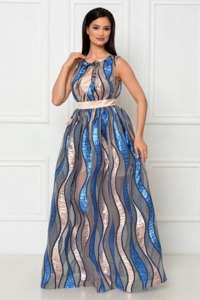 Rochie lunga organza brodata albastra
