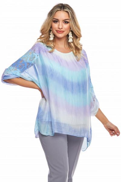 Bluza multicolora din vascoza naturala cu dantela pe maneca