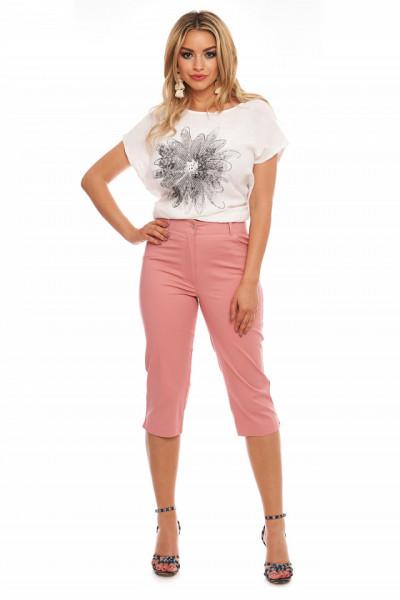 Pantaloni roz prafuit treisferturi din tercot subtire