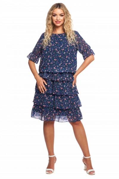Rochie albastra cu floricele din voal cu volanase