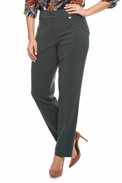 Pantaloni eleganti lungi verde-kaki cu vipusca la buzunar