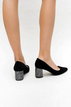 Pantofi eleganți cu toc gros și glitter