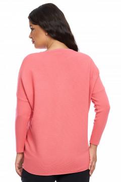 Pulover lejer roz-inchis cu strasuri