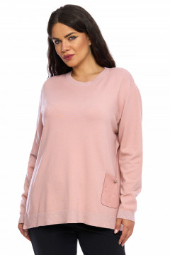 Pulover roz-prafuit cu fermuar cu pietricele