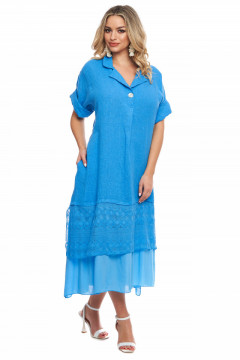 Rochie albastra din in si volan din dantela brodata
