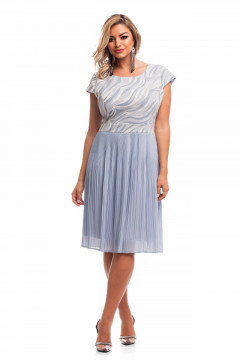 Rochie bleu din voal plisat cu model pe bust