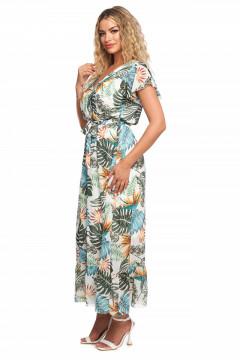 Rochie lunga cu imprimeu vegetal si bust petrecut si volan