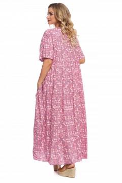 Rochie lunga lejera din bumbac roz cu floricele