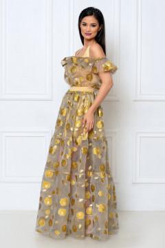 Rochie lunga organza brodata cu flori aurii