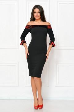Rochie midi cu paiete cameleon rosu-negru