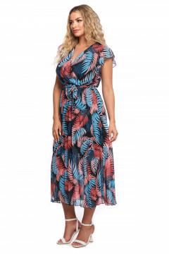 Rochie multicolor din voal cu bust petrecut si fusta plisata