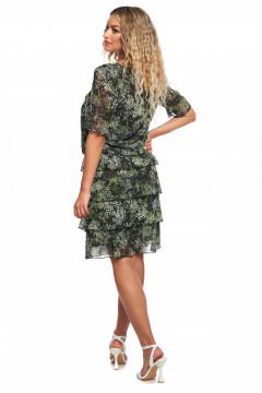 Rochie verde din voal cu volanase