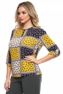 Bluza bleumarin cu print galben si bej