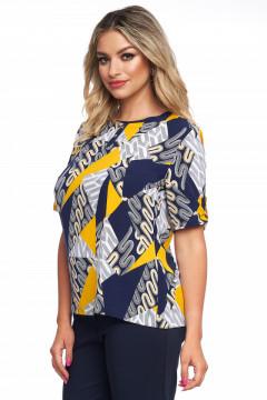 Bluza imprimata galben cu bleumarin