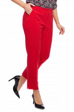 Pantaloni eleganti rosii cu vipusca la buzunare